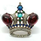 1944 Trifari Alfred Philippe Sterling Silver Ruby Cobalt Glass Crown Brooch Pin