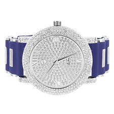 Iced Out Techno Pave Watch Simulated Diamond Dial Analog Blue Bullet Rubber Band