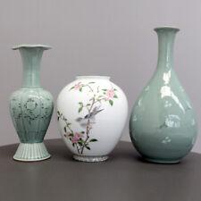 3 Vasen Japan MID CENTURY modern 60s DESIGN Eichelhäher und Blumen Shibata
