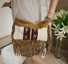 Moroccan Handira Suede Leather Fringe Tassel Clutch Bag Evening Shoulder Purse