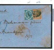 207a 1872 GB HIGH RATE DESTINATION MAIL 2s Blue Registered BANK Cover Frankfurt