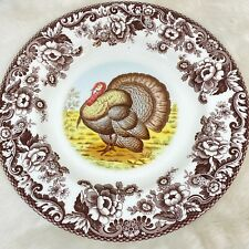 SPODE WOODLAND TURKEY DINNER PLATES 10 5/8 Set of 4 New
