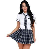 Ladies Girls Naughty School Girl Costume High School Uniform Plaid Fancy Dress
