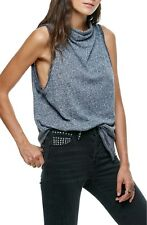 People Womens Sleeveless Cowl Neck Madrid Draped Tank Top Grey M E3018