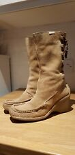 Kickers moccasin toe calf boots tan suede hi/mid-wedge back laced UK 6 vgc