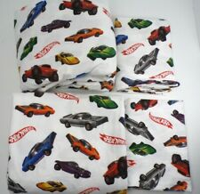 Pottery Barn Kids Hot Wheels Cars Flannel Sheet Set Full White #5002