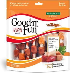 Good'N'Fun Triple Flavored Rawhide Kabobs for Dogs,Dog Treats 12 oz | 18 count.