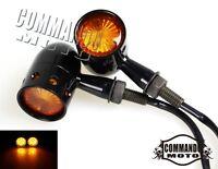 Pair Universal Aluminum LED Retro Turn Signal Light Indicator Lamp Blinker Black