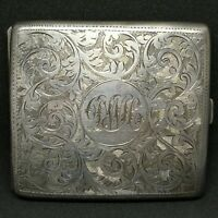 Birmingham Circa 1919, Antique Sterling Silver Cigarette Case, Heavy. HD VIDEO