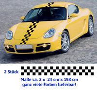 Karomuster Raster Dekor für jedes Fahrzeug - 2 x 24 cm x 198 cm Aufkleber