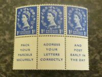 GB ERII POSTAGE REVENUE STAMPS SGS16A BOOKLET PANE OF 3 1D PLUS 3 LABELS UMM