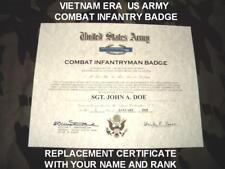 VIETNAM ERA US ARMY COMBAT INFANTRY BADGE REPLACEMENT CERTIFICATE FREE SHIPPING