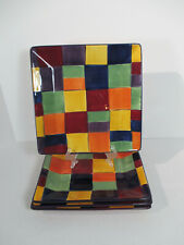 Corsica Dinner Plates Caracas Plaid Tabletop Gallery Hand Painted Set of 4