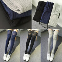 Women Warm Cotton Thigh High Stockings Knit Over Knee Lace Girls Long Socks hcuk