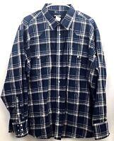 Wrangler Western Shirt Mens 2XL Blue Plaid Pearl Snap Long Sleeve 100% Cotton