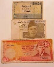 Pakistan 3 Different Notes Lot - 1 Rupee + 100 Rupees (1975) + 5 Rupees 2009