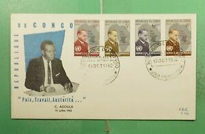 DR WHO 1962 CONGO FDC ADOULA PORTRAIT CACHET COMBO  g13724