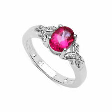 Solitaire with Accents Pink Sterling Silver Fine Rings