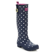 Joules Womens Wellies Navy Blue Spot Wellington Boots PullOn Rubber Casual Shoes