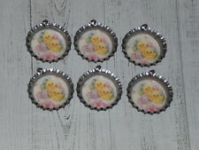 6 Easter Eggs Baby Chicks Silver Bottle Cap Charms Party & Mini Tree Ornaments