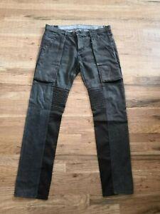 Hudson Skinny Moto Black Faded Jeans Men Size 38 Leather Trim Cargo Pockets