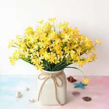 4 Pcs Artificial Fake Flower Yellow Small Orchid Home Decoration Outdoor Floral
