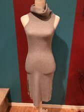 Women Junior Nude Gray Cowl Turtle Neck Sweater Dress Size M