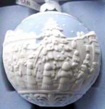 Wedgwood Carol Singers Christmas Ball Ornament Blue/White Relief Porcelain New