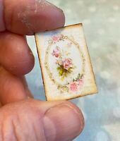 Miniature Dollhouse Shabby Chic ROSES vintage boudoir sign 1:12 picture pink