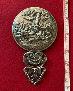 Antique Sterling Silver Repousse Small Hand-Held Mirror Made In Denmark