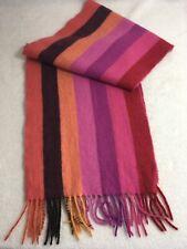 """100% Cashmere Scarf Striped Multicolor Soft Fringe Pink Red Orange Black 52""""x10"""""""