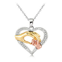 Hot Friendly Gold Plated White Rhinestones Hand Heart Pendant Necklace Gifts