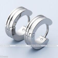 Pair Stainless Steel Silver Laser Ear Huggie Hoop Studs Huggie Earrings Men's