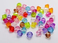Craft DIY Mixed Colour Transparent Acrylic Faceted Bicone Spacer Beads 4mm-14mm