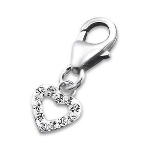 Silvadore HEART Love CZ Mini 925 Sterling Silver Clip On Charm Bracelet Box 542