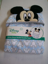 Mickey Mouse Swaddle Hooded Towel, Blue, By Disney Baby, 0-3 Months), Brand New