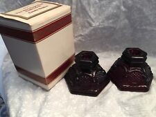 Avon 1876 Cape Cod collection candle holders. Ruby Red. Roman Rosette pattern.