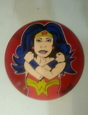"12"" record hand painted wonder woman super hero comic shortiez ink sign art new"