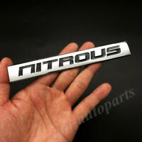 Pair of Nitrous Oxide NOS Red Silver Sticker Decal Bumper Emblem Fender Badge