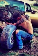 Shirtless Male Muscular Tattooed Beefcake Hunk Fixing Car Jeans PHOTO 4X6 F296