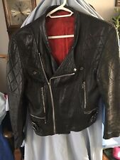RETRO BLACK LEATHER JACKET LONDON COOL ZIPPERS