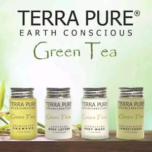 Terra Pure Green Tea Guest Bath Toiletry Set Shampoo Conditioner BodyWash Lotion