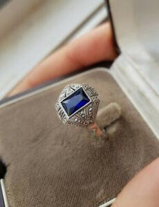 Bague Art Deco Or Gris Platine Saphir Diamant Ancienne 1925 T54 18K Blanc 750 XX