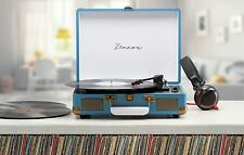 Zennox Blue Retro Portable Briefcase Vinyl Turntable Record Player Music Deck
