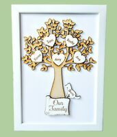 Personalised Wooden Family Tree Frame Hearts Pets Birthday Gift Decorations