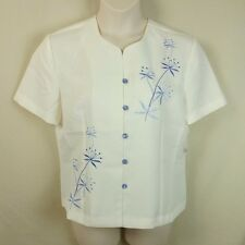 9794f2fd818 NWOT Adrian Delafield Haband Sz LP Cream w  Blue Embroidered Button Blouse  Top