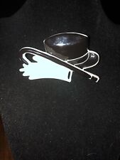 Pin Top Hat Cane Gloves Vtg Black White Plastic Novelty Jewelry