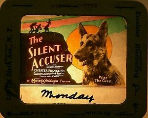 """THE SILENT ACCUSER"", 1924 , ORIGINAL COLOR GLASS SILENT MOVIE SLIDE"