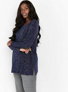 Evans Womens Blue Marl T Shirt Long Sleeve Round Neck Blouse Top Regular Fit