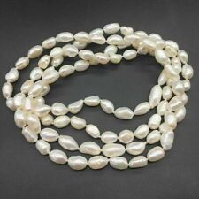 Strand Natural 7-8mm White Baroque Cultured Fresh water Pearl Long Necklace 30''